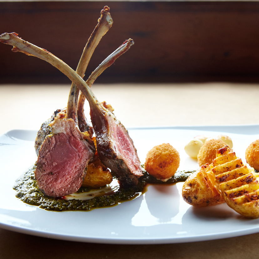 Lamb chops served with smashed potatoes at our Jenner restaurant