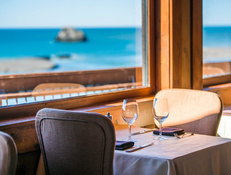 Intimate Dining Setting table for two with a view of the Pacific Ocean
