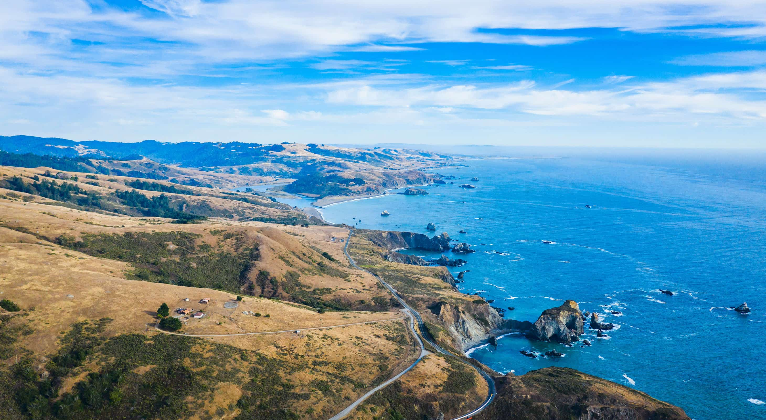 A An aerial view of the Sonoma Coast and the Russian River outlet