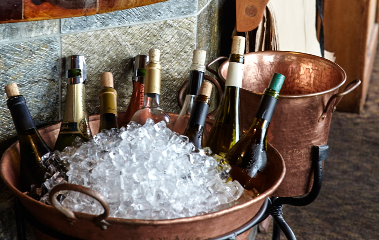 Assorted wine bottles in a bucket of ice